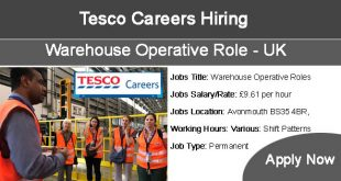 Tesco Careers Hiring Warehouse Operative Roles