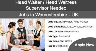 Waiter Waitress, Supervisor jobs in Worcestershire
